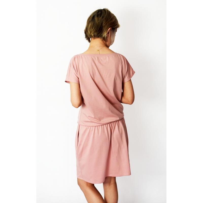 spalla - damen strickwaren kleider - schmutziges rosa
