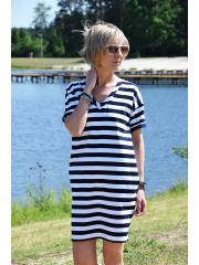 SYDNEY - Baumwoll-Minikleid - weiße und marineblaue Streifen