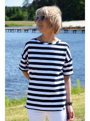 PORTO - cotton women's T-SHIRT - white and navy blue stripes