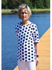 PORTO -T-Shirt aus Baumwolle - marineblaue Tupfen