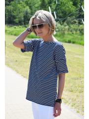 t-shirt PORTO - biało-granatowe paski