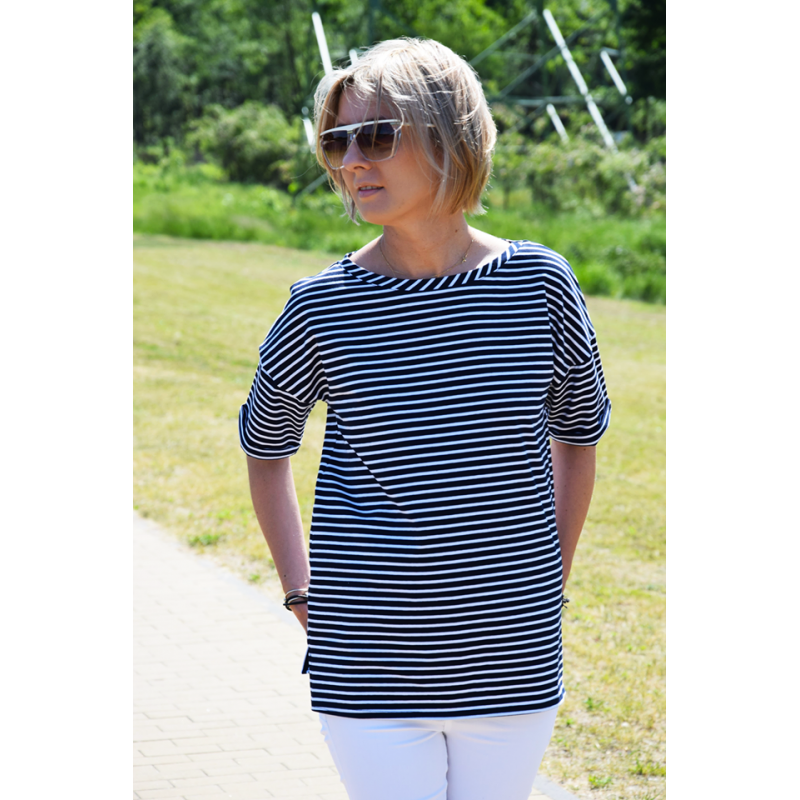 ee675aa2c ... PORTO - cotton women's T-SHIRT - white and navy blue stripes ...