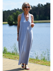VIENA - Long knitted summer dress - gray and white stripes