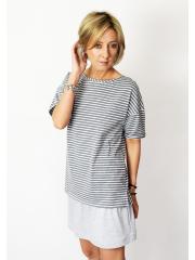 PORTO -T-Shirt aus Baumwolle - weiß und marineblauen Streifen