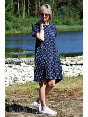 TESSA - A-shaped dress with short sleeves - Navy blue polka dots