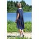 TESSA - A-shaped dress with short sleeves - Navy blue polka dots