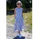 AUDREY - long cotton dress - navy blue polka dots