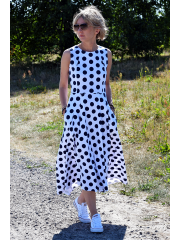 AUDREY - long cotton dress - navy blue polka dots