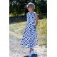 sukienka AUDREY - granatowe grochy