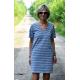 SYDNEY - cotton mini dress - white and gray stripes