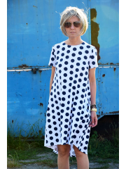 TESSA - A-förmiges Kleid mit kurzen Ärmeln - Marineblaue Tupfen