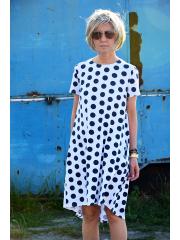 sukienka TESSA - granatowe grochy