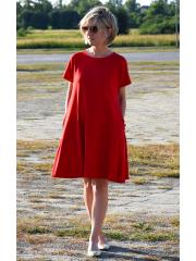 TESSA - A-förmiges Kleid mit kurzen Ärmeln