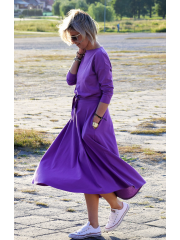 ADELA - Midi Flared cotton dress - violet