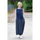 ROMA - long cotton skirt with high waist - Navy blue polka dots