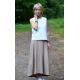 ROMA - long cotton skirt with high waist - mocha in polka dots