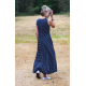 AUDREY - langes Baumwollkleid - marineblaue Tupfen