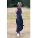 sukienka AUDREY - granatowa w groszki