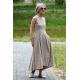 AUDREY - long cotton dress - mocha in polka dots