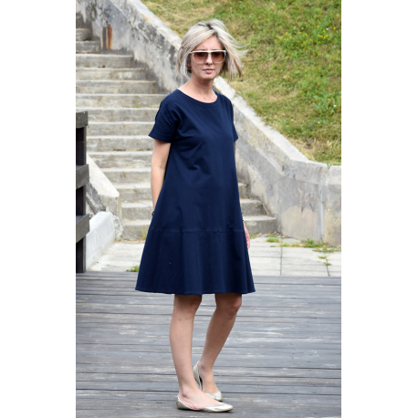 SMILE - trapezoidal dress with short sleeves