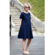 SMILE - trapezoidal dress with short sleeves - navy blue