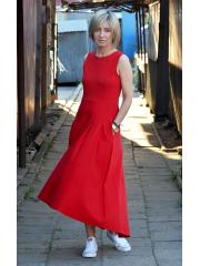 AUDREY - long cotton dress - red