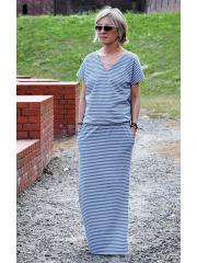 sukienka MYSTERY - szaro-białe paski