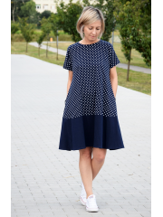 SMILE - trapezoidal dress with short sleeves - navy blue polka dots