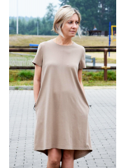 TESSA - A-förmiges Kleid mit kurzen Ärmeln - Marineblau