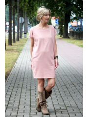 IRGA - COTTON DRESS WITH EXTENSIVE BACK - dirty pink