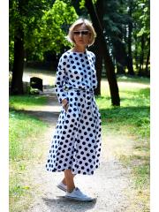 ADELA - Midi Flared cotton dress - navy blue polka dots