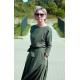 ADELA - Midi Ausgestelltes Kleid gestrickt - marineblaue Tupfen