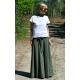 DRESCODE - Lange Baumwollrock mit Schleife oder Strick - khaki