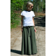 DRESCODE - long, cotton skirt with a bow or knit - khaki