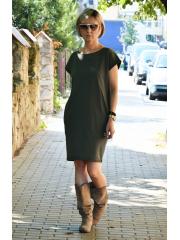 ALEGRA - Baumwollkleid mit kurzen Ärmeln - khaki