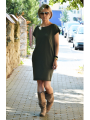 ALEGRA - cotton dress with short sleeves - khaki