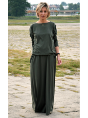 MAXIMA - cotton long dress with pockets - khaki