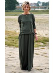 MAXIMA - gestrickten langen Kleid mit Taschen - grün