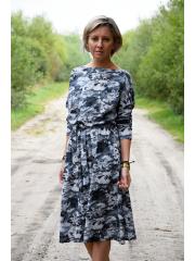 ROSE - Baumwollkleid mit Gürtel - weiße und marineblaue Streifen