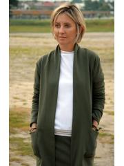 LENA - cotton cardigan with pockets - khaki