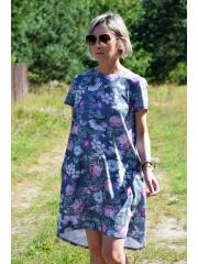 sukienka TESSA - szare kwiaty