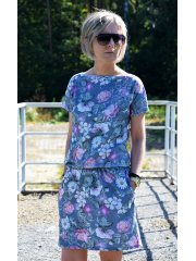 sukienka SPALLA - kolor SZARE KWIATY