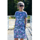SPALLA - mini cotton dress - gray flowers