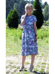 sukienka LUCY - szare kwiaty