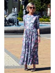 sukienka MARGO - szare kwiaty