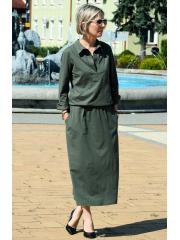 IVETT - Midi-Shirt-Kleid - khaki