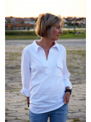 bawełniana bluzka LARISA - kolor biały