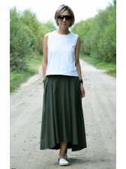 ROMA - long cotton skirt with high waist - navy blue